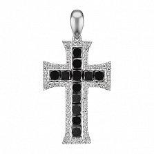 Крестик из белого золота Ренессанс с черными и белыми бриллиантами
