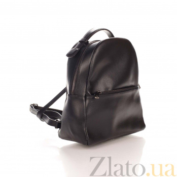 Кожаный рюкзак Genuine Leather 8988 черного цвета с карманом на молнии 000093424