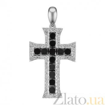 Крестик из белого золота Ренессанс с черными и белыми бриллиантами 000079405