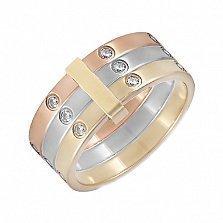 Золотое тройное кольцо с фианитами Одри