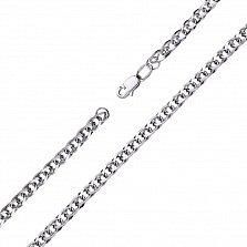 Серебряный браслет Виола в плетении ромбо с овальными звеньями и алмазной гранью, 4мм