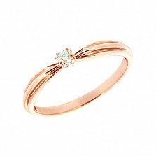 Золотое кольцо в красном цвете с бриллиантом Велия