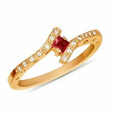 Золотое кольцо Анталия в красном цвете с синтезированным рубином и дорожками фианитов