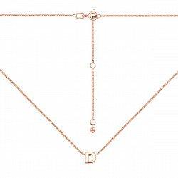 Колье из красного золота с подвеской Буква D 000137752