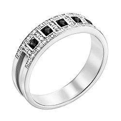 Кольцо из белого золота с черными и белыми бриллиантами 000131349