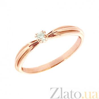 Золотое кольцо в красном цвете с бриллиантом Велия 000018989