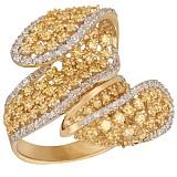 Кольцо из красного золота с фианитами Вихрь