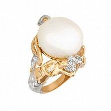Кольцо из желтого и белого золота Возвышенность с жемчужиной и фианитами