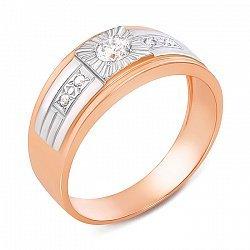 Золотой перстень-печатка в комбинированном цвете с фианитами 000137004