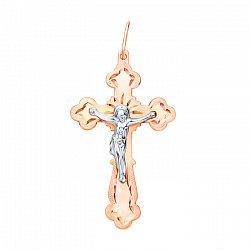 Золотой крестик в комбинированном цвете с алмазной гранью 000106473