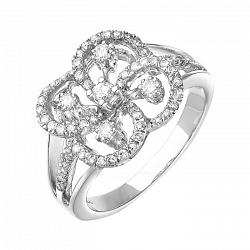 Золотое кольцо  в белом цвете с бриллиантами 000064840
