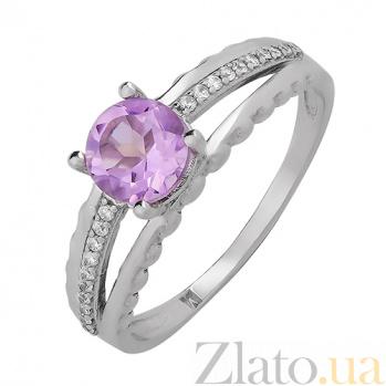 Серебряное кольцо Теолла с аметистом и фианитами 000015348