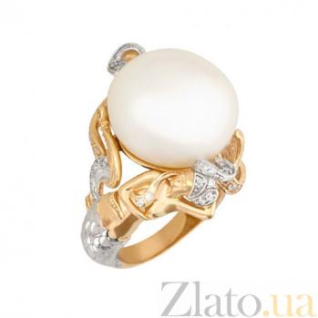 Кольцо из желтого и белого золота Возвышенность с жемчужиной и фианитами VLT--ТТ1274