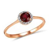 Кольцо Татьяна из золота с гранатом и бриллиантами