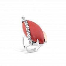 Серебряное кольцо Анхелика с золотой накладкой, кораллом и фианитами