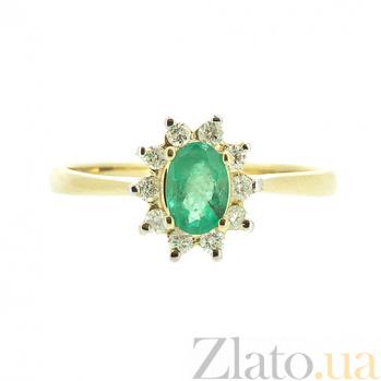 Золотое кольцо Малинка в желтом цвете с изумрудом и бриллиантами ZMX--RE-4235y_K
