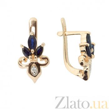 Золотые серьги с бриллиантами и сапфирами Сьюзи ZMX--EDS-6896_K