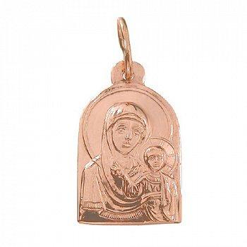 Золотая ладанка Божья Матерь в красном цвете 000046098