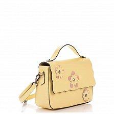 Кожаный клатч Genuine Leather 1543 желтого цвета с короткой ручкой и цветами на клапане