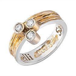 Кольцо серебряное Трио с фианитами и позолотой