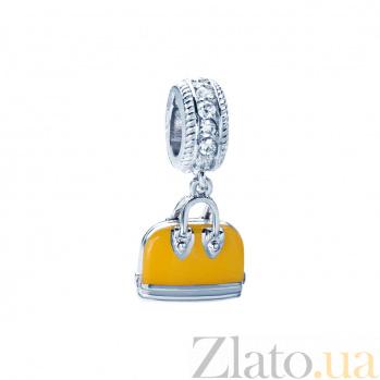 Серебряная бусина с фианитами и оранжевой эмалью Сумочка 000027058