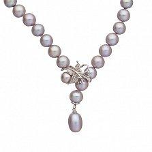 Ожерелье из серого жемчуга с золотым замком Оливия