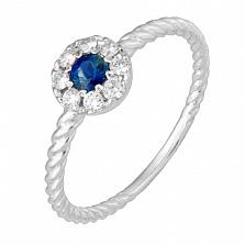 Золотое кольцо Фанни с сапфиром и бриллиантами