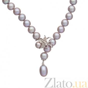 Ожерелье из серого жемчуга с золотым замком Оливия SG--7831000149003