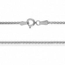 Серебряная цепь Лиана с родированием, 50 см