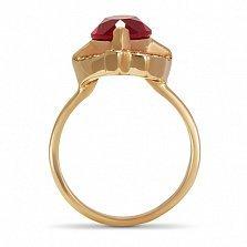 Золотое кольцо Изысканность Востока с рубином и дорожками фианитов