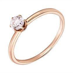 Помолвочное кольцо из красного золота с бриллиантом, 0,25ct 000034693