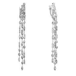 Серебряные серьги-подвески Граника с белыми фиантами