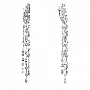 Срібні сережки-підвіски з білими фіанітами 000098776