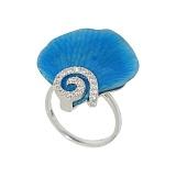Серебряное кольцо с фианитами Лепесток голубой орхидеи