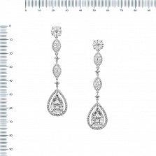 Серебряные серьги-подвески Монна с дорожками и белыми фианитами