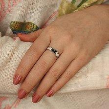 Серебряное кольцо Коты Саймона с черной и белой эмалью
