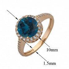 Золотое кольцо Делорис с синтезированным топазом лондон и фианитами