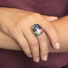 Серебряное кольцо Трапеция с имитацией опала