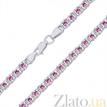 Серебряный браслет Мирена с малиновым цирконием 000082740