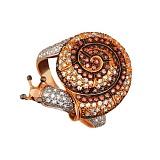 Кольцо из красного золота Улитка с фианитами