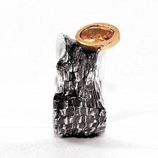 Кольцо из серебра Effectus с золотой вставкой, цирконием цвета шампань и чернением