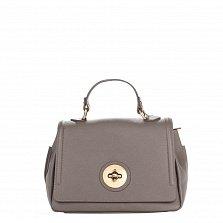 Кожаная деловая сумка Genuine Leather 7807 серого цвета с клапаном на металлической застежке