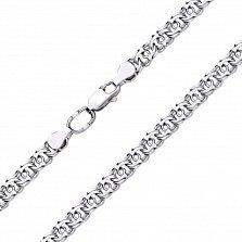 Серебряная цепь Марлон в плетении арабский бисмарк, 7мм