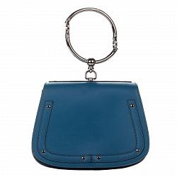 Кожаный клатч Genuine Leather 8812 приглушенного синего цвета с круглой металлической ручкой 0000924