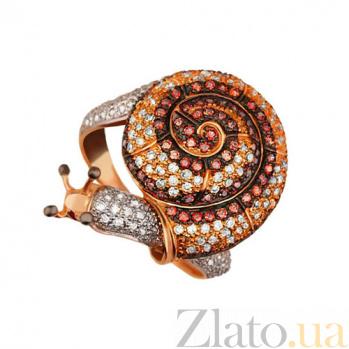Кольцо из красного золота Улитка с фианитами VLT--ТТТ1089-2