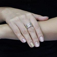 Серебряное кольцо Ноэль с позолотой, фантазийной шинкой и дорожками фианитов