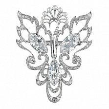 Серебряная брошь с жемчугом и белыми фианитами Жар-птица