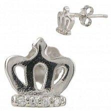 Серебряные серьги-пуссеты Инфанта с кристаллами циркония