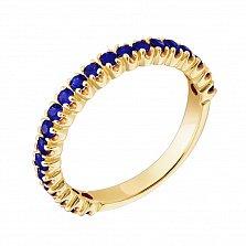 Золотое кольцо в жёлтом цвете с сапфирами Каприз