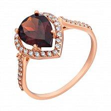 Золотое кольцо Виктория с гранатом и фианитами